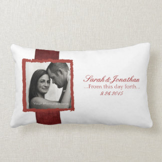 Engagement Photo Red and White Christmas Wedding Throw Pillows