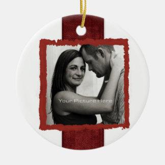 Engagement Photo Rustic Christmas Wedding Christmas Ornament