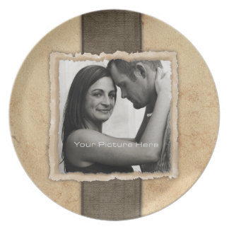 Engagement Photo Rustic Vintage Wedding Dinner Plate