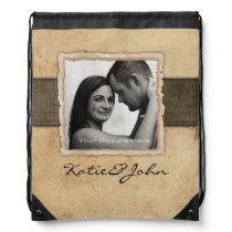 Engagement Photo Rustic Vintage Wedding Drawstring Bag