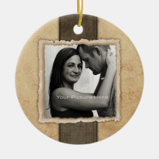 Engagement Photo Rustic Vintage Wedding Double-Sided Ceramic Round Christmas Ornament
