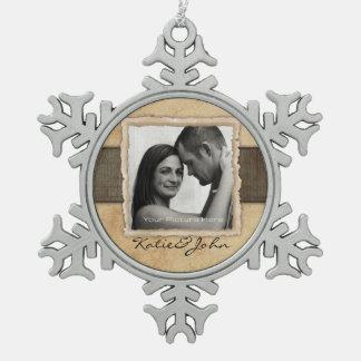 Engagement Photo Rustic Vintage Wedding Snowflake Pewter Christmas Ornament