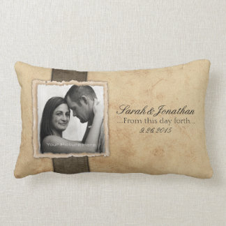 Engagement Photo Rustic Vintage Wedding Pillow