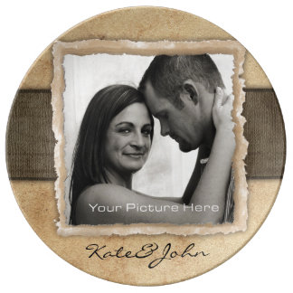 Engagement Photo Rustic Vintage Wedding Porcelain Plate