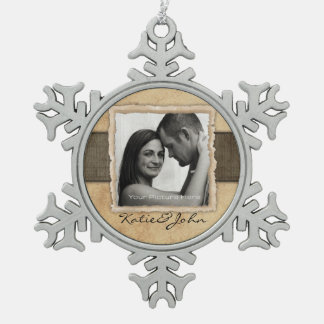Engagement Photo Rustic Vintage Wedding Snowflake Pewter Christmas Ornament