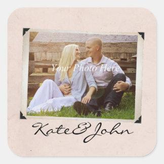 Engagement Photo Rustic Vintage Wedding Square Sticker