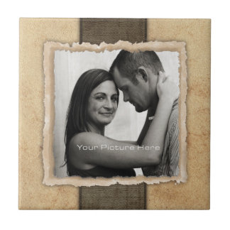 Engagement Photo Rustic Vintage Wedding Small Square Tile