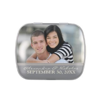 Engagement Photo Wedding Favor Tins (grey)
