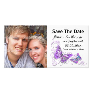 Engagement purple blue photo PERSONALIZE Photo Greeting Card