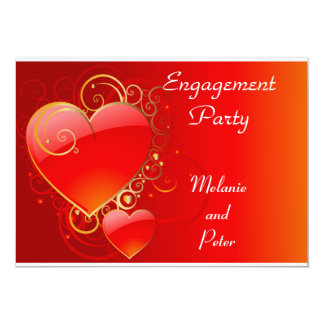 Engagement red Heart  Invitation