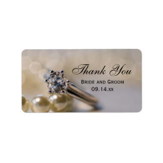 Engagement Ring and Pearls Thank You Favor Tag