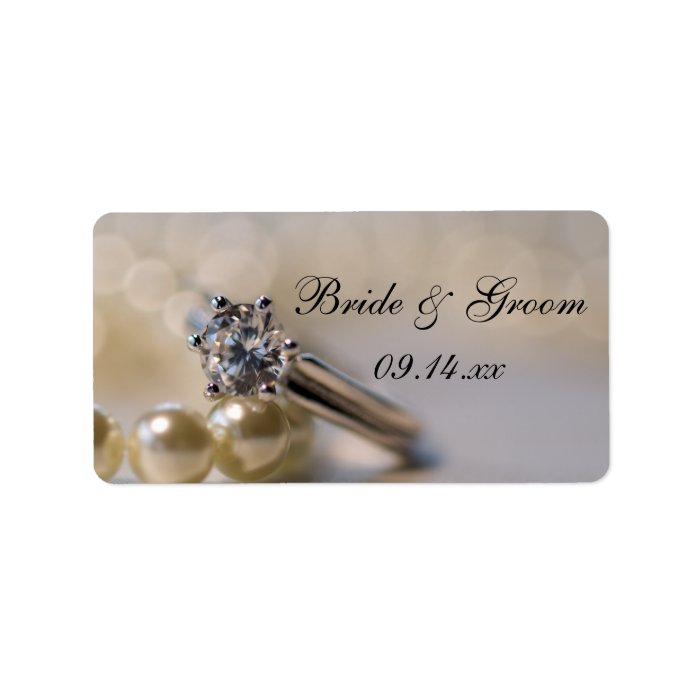 Engagement Ring and Pearls Wedding Favor Tags Label