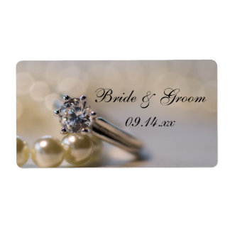 Engagement Ring and Pearls Wedding Stickers Shipping Label
