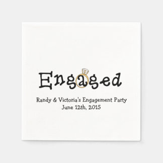 Engagement Ring Engagement Party Paper  Napkins Standard Cocktail Napkin