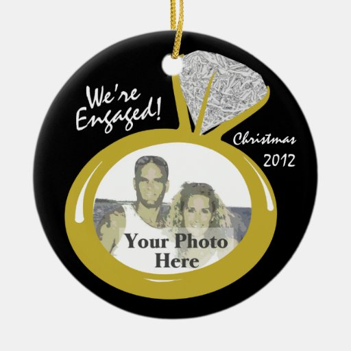Engagement ring photo double sided ceramic round christmas for Engagement christmas tree ornaments