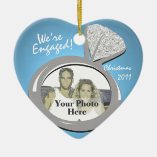 Engagement Ring Photo Double-Sided Heart Ceramic Christmas Ornament