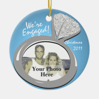 Engagement Ring Photo Double-Sided Ceramic Round Christmas Ornament