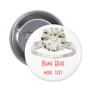 Engagement Ring Wedding Party Rehearsal Name Tag Button