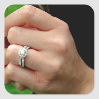 Engagement ring with Daisy Square Sticker