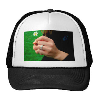 Engagement ring with Daisy Trucker Hat