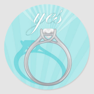 """Engagement Ring """"Yes"""" - blue Classic Round Sticker"""