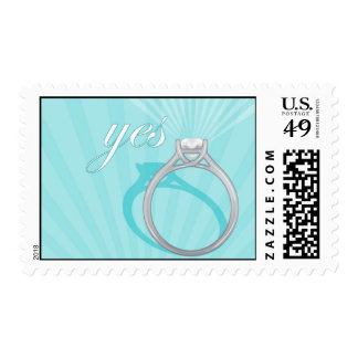 """Engagement Ring """"Yes"""" - blue Postage"""