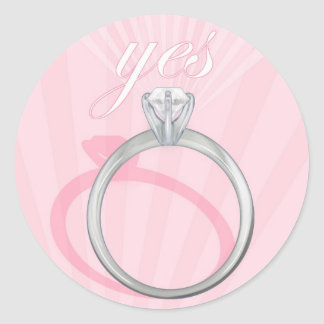 """Engagement Ring """"Yes"""" - pink Classic Round Sticker"""