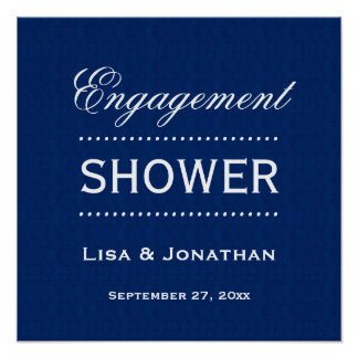 Engagement SHOWER Classic Blue and White A02 Poster