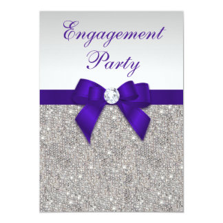 Engagement Silver Sequins Deep Royal Purple Bow Card