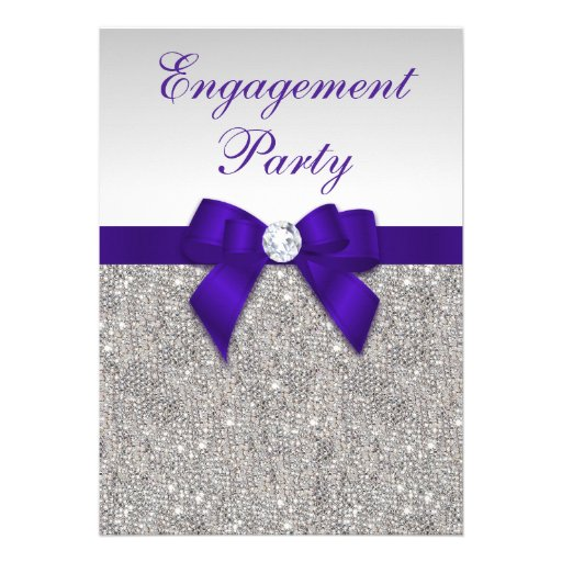 Engagement Silver Sequins Deep Royal Purple Bow Invitations