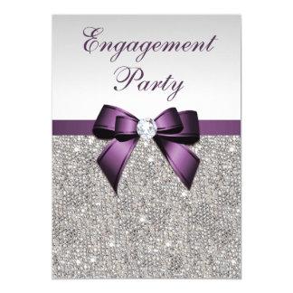 Engagement Silver Sequins Violet Bow Card