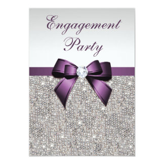 Engagement Silver Sequins Violet Bow Card