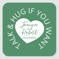 Engagement social distancing guest green heart square sticker
