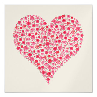 Engagement Two Rose Hearts Metallic Pink Invite