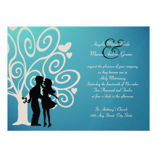 Engagement/ Wedding Silhouette Personalized Announcements