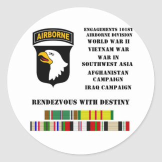 Engagements of the 101st airborne division classic round sticker