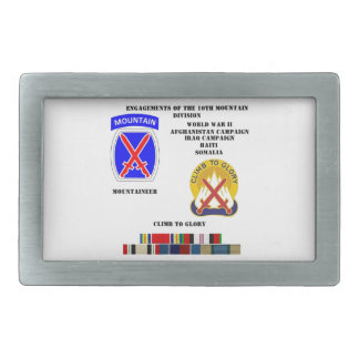 Engagements of  the 10th Mountain division Belt Buckle