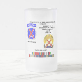 Engagements of  the 10th Mountain division Frosted Glass Beer Mug