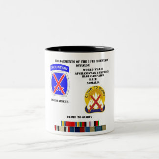 Engagements of  the 10th Mountain division Mugs