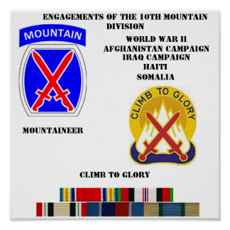 Engagements of the 10th mountain division poster