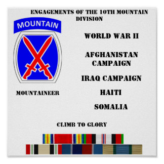 Engagements of the 10th Mountain division Posters