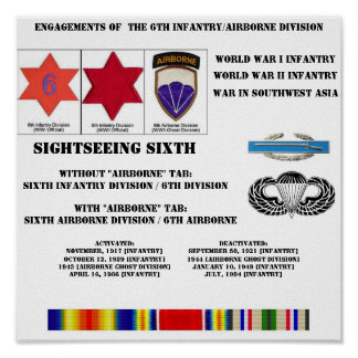 Engagements of  the 6th Infantry/Airborne Division Poster