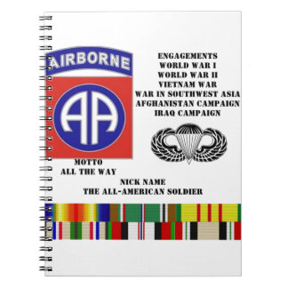 Engagements of  the 82nd  airborne division spiral note book