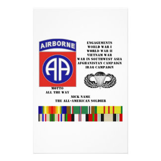 Engagements of  the 82nd  airborne division personalized stationery