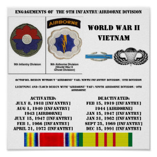 Engagements of the 9th Infantry/Airborne Division Poster