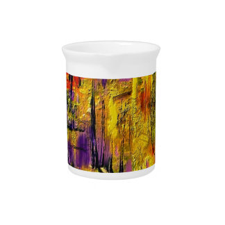 Engaging Yellow and Black Abstract Beverage Pitcher