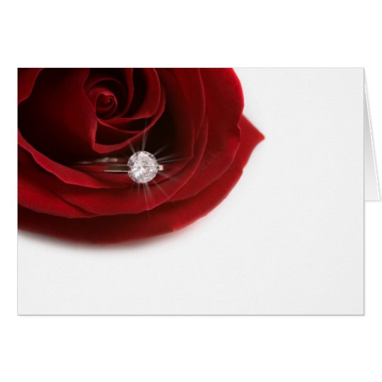 Engagment ring in red rose card