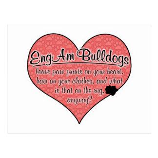 EngAm Bulldog Paw Prints Dog Humor Postcard