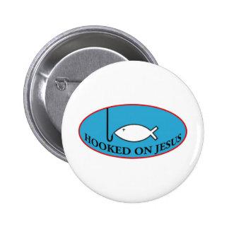Enganchado en el botón de Jesús Pin Redondo De 2 Pulgadas