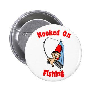 Enganchado en el botón de la pesca pin redondo de 2 pulgadas